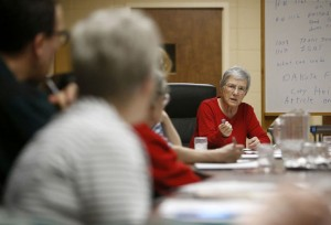 Sister Myra Remily, right, leads the discussion in Tuesday night's Pax Christi meeting at the Presentation Convent. The social justice group, based in the Catholic faith, holds monthly meetings. American News Photo by John Davis taken 2/23/2016