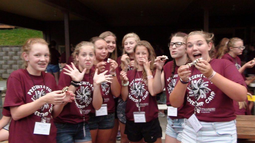 Enjoying s'mores during 2016 Leadership Camp